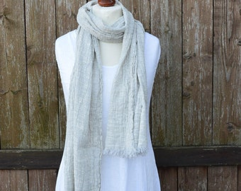 Gray linen cotton scarf, grey linen, women scarf, men scarf, unisex scarf
