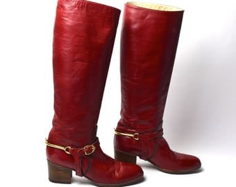 Women's Tall Red Leather Harness Boots, Made in Spain