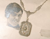 ORIGINAL 1910s Camphor Glass Necklace, Silver Edwardian Rhinestone Pearl Gold Vermeil Pendant Bridal Necklace, 1920 Art Deco Vintage Wedding
