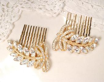 PAIR Original Art Deco Gold Bridal Hair Combs 1920s Headpiece Crystal Rhinestone Gold Leaf Dress Clips Vintage Wedding Accessory Hairpiece 2