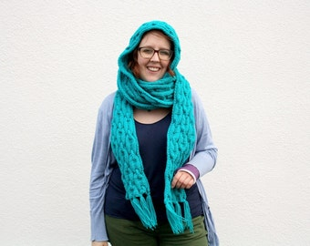 Turquoise Knit Scoodie, Hooded Scarf Cables, Bright Blue Hand Knit Scarf with Hood, One of a Kind Winter Accessory, Handmade Gift for Teens
