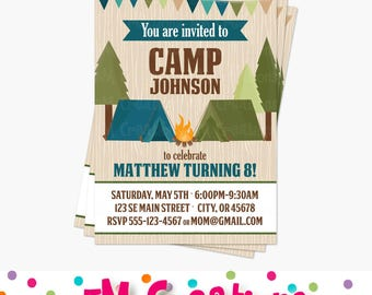 Camping Birthday Party Printable Invitation - Camping Invite -Tent Outdoor Adventure Invitation- Boy Camping Party Printable Digital Invite