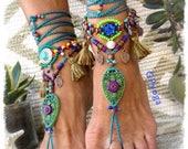 Woodland FAIRY BAREFOOT sandals Tassel foot jewelry Purple Teal Green Tribal ANKLETS Gypsy Sandal Garden Wedding Filigree jewelry GPyoga