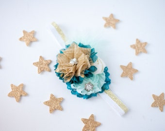 Worth Dreaming For  - teal aqua and gold rosette and chiffon metallic headband bow