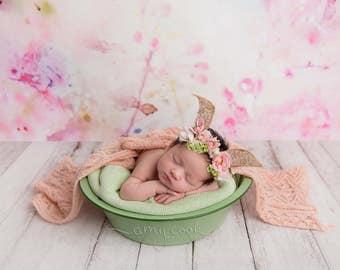 no bunny like you vintage fabric springtime newborn bunny easter woodland ears crown halo floral headband prop