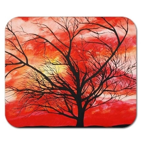 Mousepad Mouse Pad Fine Art Painting Abstract Orange Colored Sky Fine Art Contemporary Modern Sunset Tree Silhouette Vivid Sunrise Landscape
