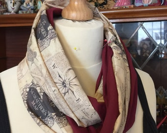 Marauders Map, Harry Potter inspired Infinity Scarf, featuring Hogwarts House colour