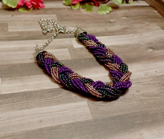 Purple Braided Bead Necklace - Statement Necklace