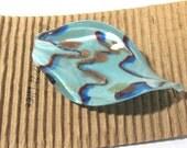 VINTAGE Murano Glass Pendant Leaf Drop Venetian Glass Pendant Turquoise Vintage 1970s Murano Glass Spoon Pendant Jewelry (D137)