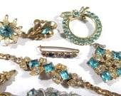 Blue Rhinestone Jewelry for Parts or Repair VINTAGE Assorted Ten (10) RHINESTONE Earrings Wedding Jewelry Supplies Vintage Jewelry (F131)