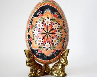 gift for Ukrainian family Pysanka Ukrainian Easterd ecorated goose egg shell wonderful retirement gift Easter traditional eggs