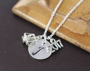 Law School Graduation Gift Personalized Lawyer Judge Paralegal Scales of Justice Charm Necklace 925 Sterling Silver