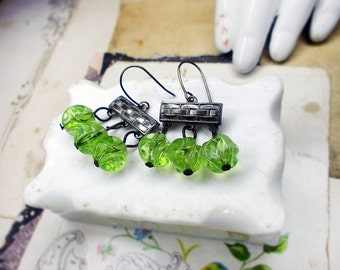 Rustic Assemblage Earrings - Short Chandeliers - Vintage Connectors - Brick Pattern - Sci-Fi Green Dimpled Plastic Translucent Beads