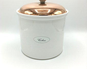 White Ceramic Canister with Copper Top, Vintage Kitchen Container, Large Jar, Made in Portugal