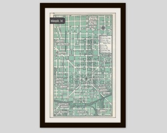 Indianapolis Indiana Map, City Map, Street Map, 1950s, Green, Black and White, Retro Map Decor, City Street Grid, Historic Map