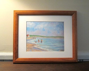 """Print """"Walk On The Beach With The Dog """"  Matted and Ready To Be Framed 11 x14"""