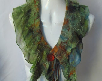 Green and Orange Nuno Felt Collar with Locks