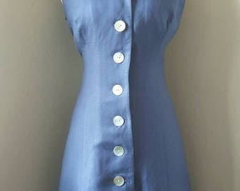 Vintage 90s Blue River And Pearls Dress