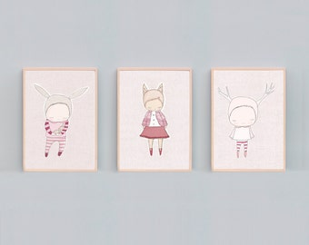 Art Print Set - Baby Bunny Cuddle, Little Fox Girl and Deer Girl - Pink