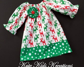 Girl Christmas Dress, Peasant Dress/Red and Green Reindeers/Sizes 3T and 4T, Ready to Ship
