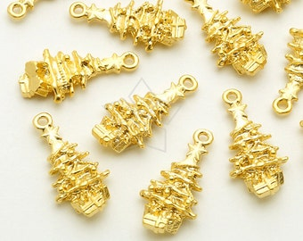 PD-1740-MG / 4 Pcs - Tiny Christmas Charms Series, Christmas Tree Charms Pendant, Matte Gold Plated over Pewter / 9mm x 18mm
