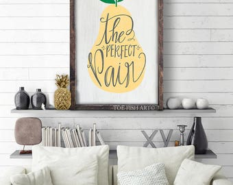 The Perfect Pair | Large Wood Framed Sign | Typography Word Art | Wedding Sign | Wedding Gift | Unique Bridal Shower Present | Artwork