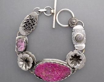 Pink Drusy Flower Bracelet