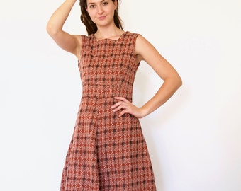 70s Brick Red Houndstooth Poly Knit Flared Swing Skater Dress s m