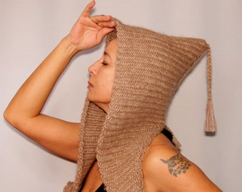 Knit Hooded Cowl, Hoodie Hood, Knit Hat, Camel Beige Hat, Women Chunky Hat, Gift For Women, Winter Accessories, Chunky Cowl, Winter Hat