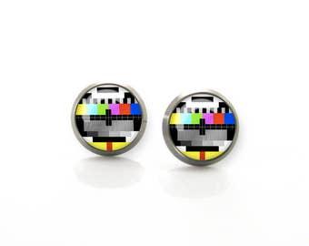 Titanium Earrings TV test signal card television card Hypoallergenic Earrings Stud | Titanium Earring Stud | Sensitive jewelry post studs