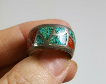 Vintage Native American Ring Turquoise Coral Band Sterling Silver Size 8.25
