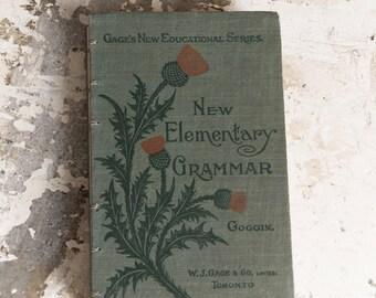 1900s ELEMENTARY GRAMMAR Vintage Grid Notebook Journal