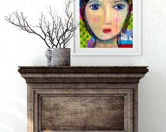 Blue Eyed Girl Giclee Art Print Original Art Print 8x10