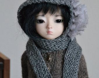 Grey shabby rose hoodie hat / muffler for Unoa, minifee msd, ball-jointed dolls