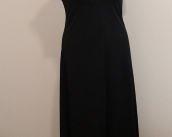 "Vintage 1970's, Long Maxi Dress with Open Back, Polyester, Black Size 34/36"" Bust Area,  #63264"
