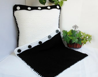 Black And White Crochet Square Throw PILLOW COVERS Shams Reversible 18 Inch Set of 2