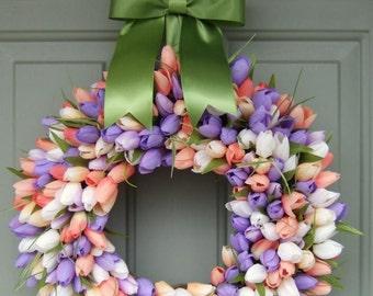 Spring Tulip Wreath - Spring Door Wreath - Tulip Wreath