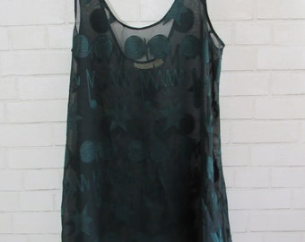 MILESTONE SALE 40% OFF with Coupon, 90s Victorias Secret Funky Hunter Green Sheer Top, Lounge Wear, Bathing Suit Cover, Flowing Tank