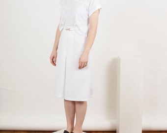 Pleated White Skirt / Circle Summer Skirt / 70s High Waisted Skirt