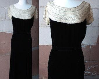 Vintage 1930's Dress // 20s 30s Black Silk Velvet Evening Gown w/ Silk Chiffon Beaded Rhinestone Neckline // Egyptomania Art Deco Bias Cut