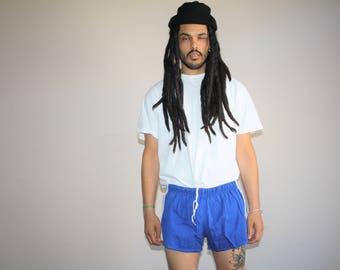 Vintage 70s Adidas Trefoil Blue Three Stripe Running Gym Shorts - 1970s Adidas Shorts - 70s Clothing - MV0193