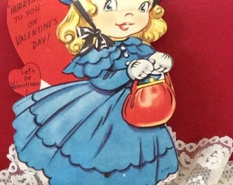 Vintage 1950s Valentine Card Little Girl With Purse Wearing A Hat Mechanical Feet Rotate Signed 1956 In Back