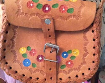Vintage 1960s 1970s Purse Shoulder Festival Bag Purse Hand Tooled & Painted Genuine Leather Petite Small Size Child Girls Teens Small Purse