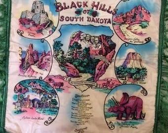 Vintage 1940s 1950s Pillow Case Cover Tourist Souvenir Black Hills Of South Dakota Badlands S.D. Green Fringe