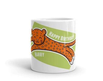 Personalised Cute Leopard Cat Mug