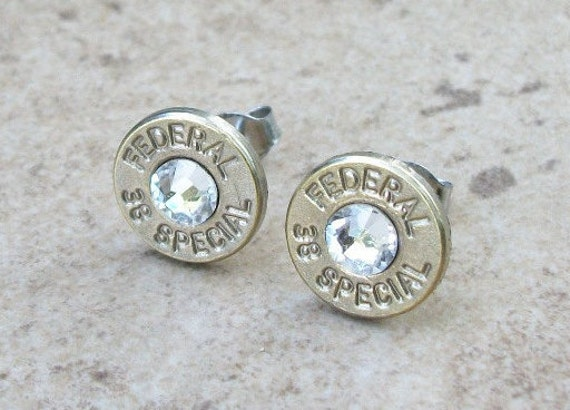Bullet Earring, Federal 38 Special Nickel Stud Earring, Clear Swarovski Crystal, Surgical Steel Post - 149