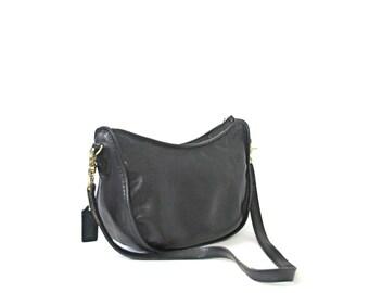 Vintage 90's Coach purse, black leather shoulder bag, black handbag