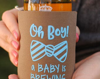 Baby Shower Favors - Oh Boy A Baby Is Brewing Personalized Can Coolers, Coed Gender Reveal Party Gifts, Stubby Holders, Beer Insulators