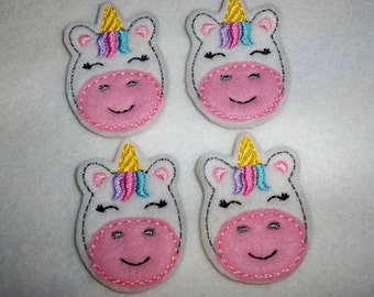 Feltie Machine Embroidered Hand made (4) Felt Unicorn CUT Embellishments / appliques