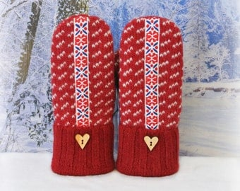 Red & White Nordic 100% Felted Wool Women's Recycled Sweater Mittens